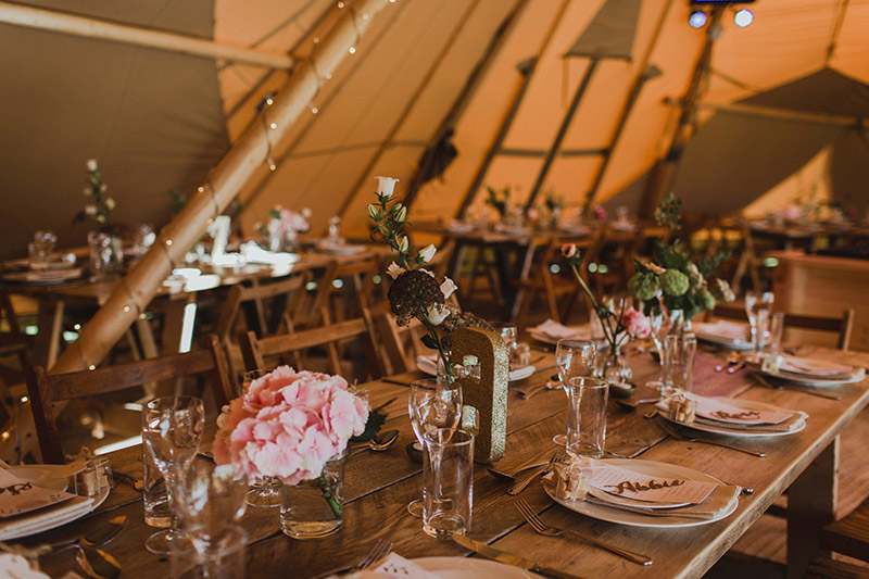 Wedding reception tipis