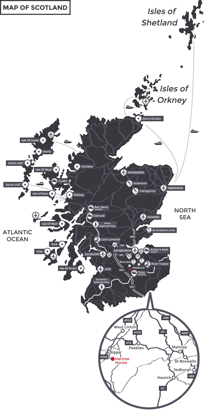 Map of Scotland by Hartree Estates